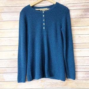Ply Cashmere Long Sleeve Blue Knit Button Pullover